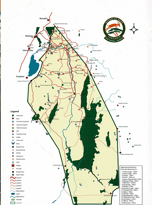 mapa Africa - parque nacional tarangire - Africaatumedida