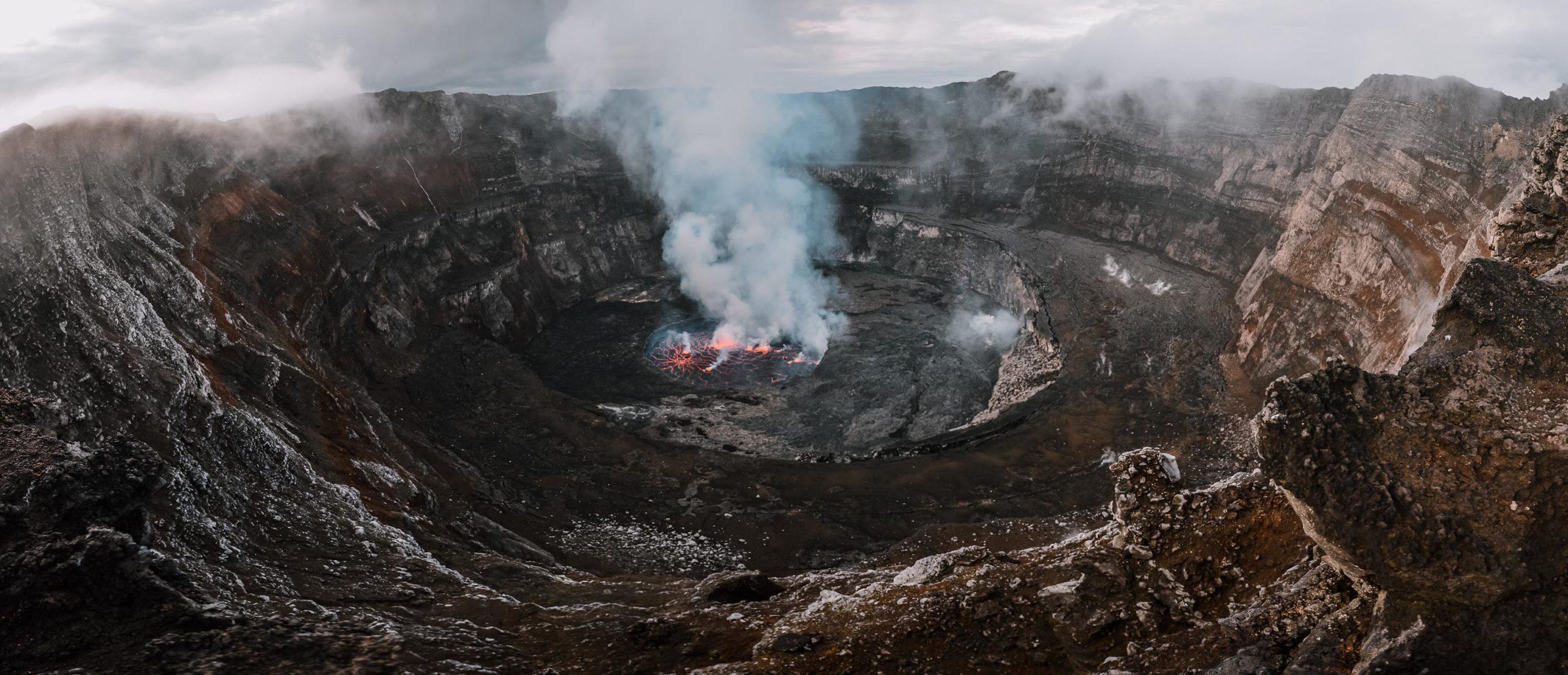 Erupción del volcán Nyiragongo en Virunga en República Democrática del Congo